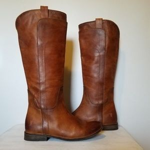 Frye 8 Cognac Paige Distressed Leather Tall Boots
